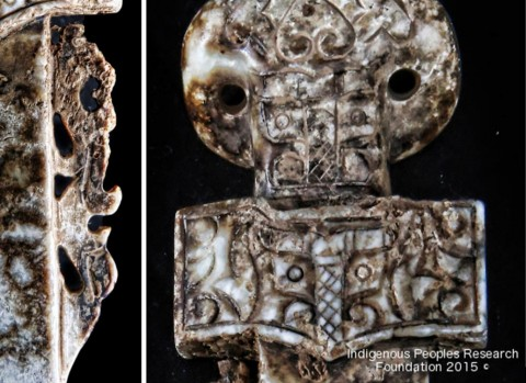 Left: Close up of dragon Right: Close up of the Taotie. (Courtesy of the Indigenous Peoples Research Foundation)