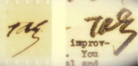 """Right: Thomas Edison's signature from when he was alive. Left: Signature purportedly written by Thomas Edison's spirit after he died, imprinted on film during the Scole Experiment. (Screenshot/""""This Life, Next Life""""/iDigitalMedium/YouTube)"""