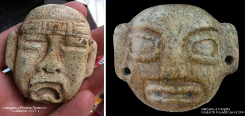 Olmec Style Pendants found in creek near Chinese votive sword. (Courtesy of the Indigenous Peoples Research Foundation)